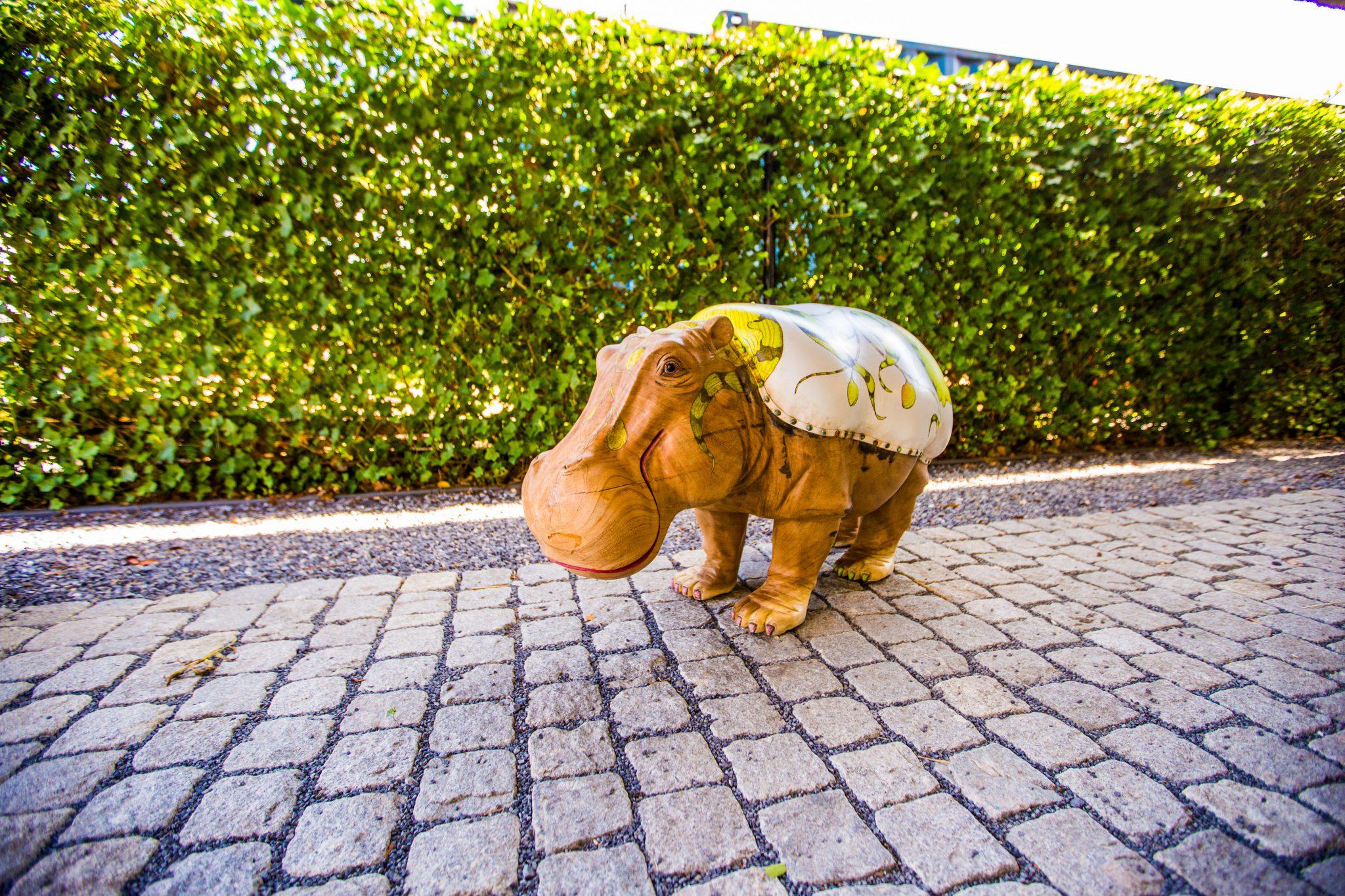 Hippo Small - teak designstoel met handbeschilderde lederen zitting - exotic design