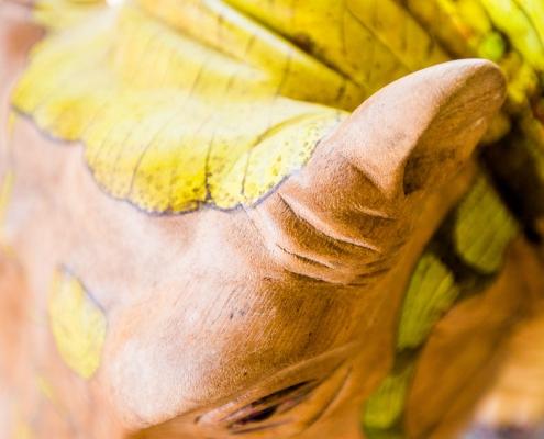 Close up houten oor Hippo Small - teak designstoel met handbeschilderde lederen zitting - exotic design